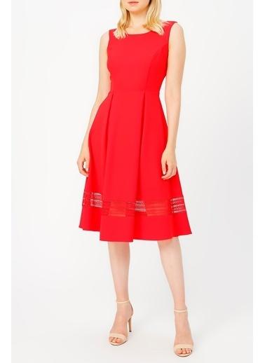 Random Kadın Eteği Dantel Detaylı Elbise Kırmızı